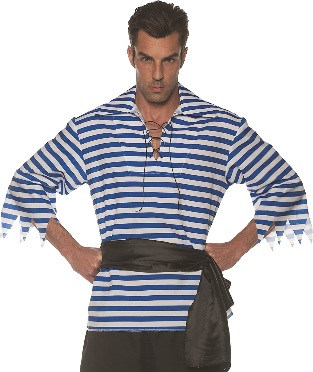 UNDERWRAPS mens Classic Pirate Spasm price Deluxe Striped Whit - Costume Shirt Blue