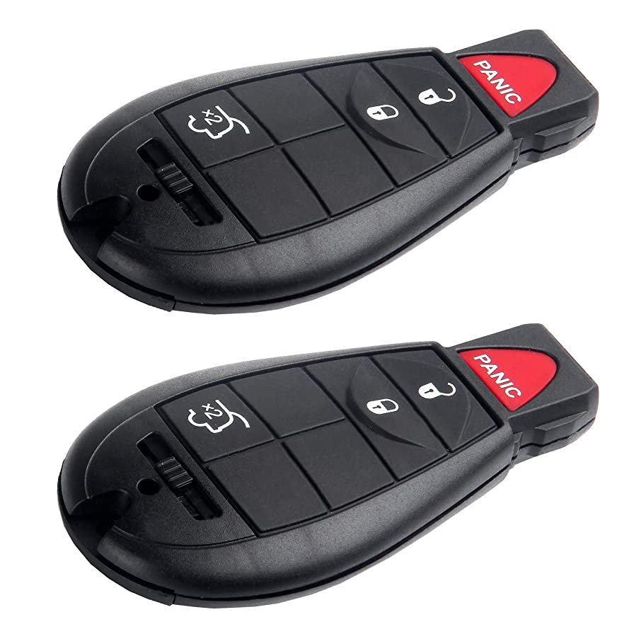 SCITOO Replacement fit for 2X Uncut 4 Buttons Keyless Entry Remote Fob M3N5WY783X, IYZ-C01C (Chrysler 300 Town & Country Jeep Commander Dodge Journey Charger Challenger Durango Dart)