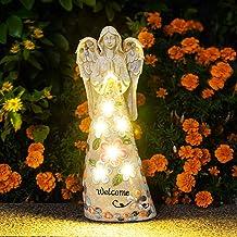 GIGALUMI Garden Angel Figurines Outdoor Decor, Garden Art Outdoor for Fall Winter Decor, Solar Angel with 6 LEDs for Patio...