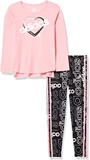 adidas Girls' Li'l Sport Long Sleeve Top & Leggings Clothing Set