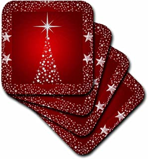3dRose Silver Star Christmas Tree with Holiday Red Background - Soft Coasters, Set of 8 (CST_164753_2)