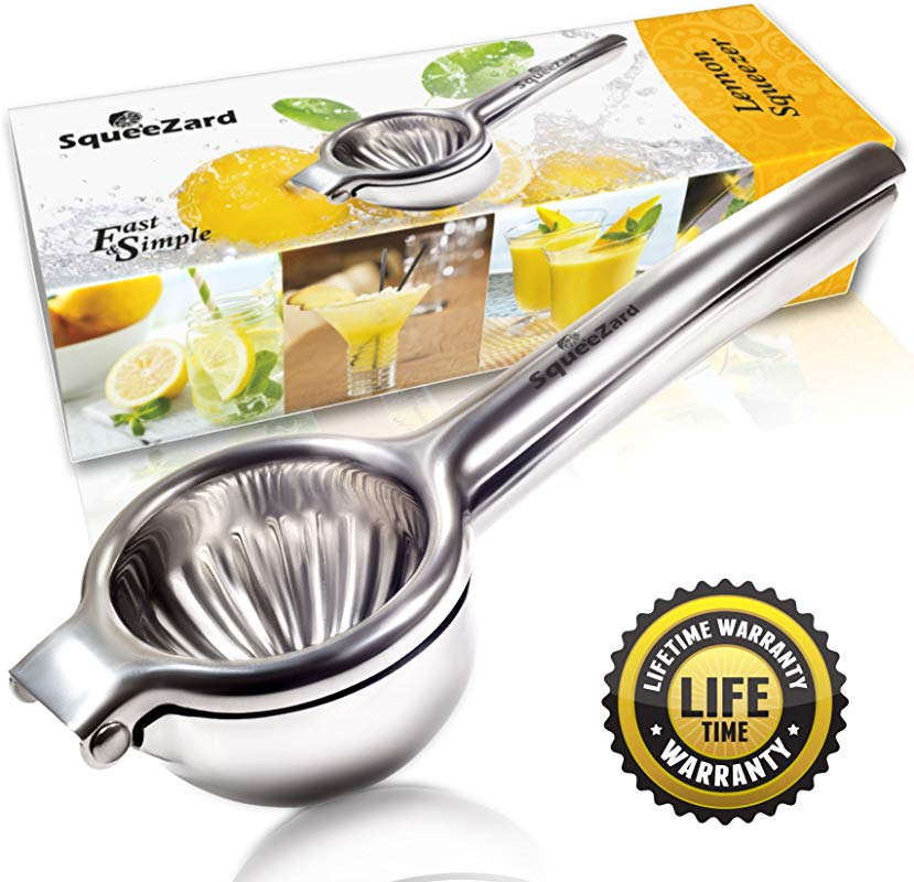 SqueeZard Squeezer Professional P Big Size Citrus Lime And Small Orange Manual Juicer Stainless Steel Lemon Press Bonus E Book With Recipes Large Gray