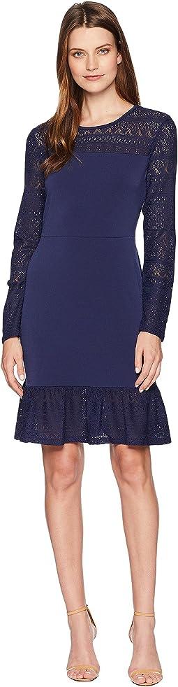 Fabric Mix Long Sleeve Dress