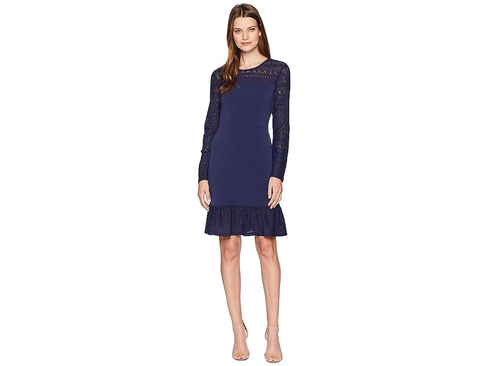 MICHAEL Michael Kors Fabric Mix Long Sleeve Dress (True Navy) Women
