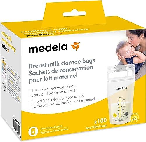 Medela Breast Milk Storage Bags, 100 Count, Ready to Use Breastmilk Bags for Breastfeeding, Self Standing Bag, Space ...