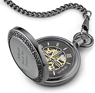 Personalized Black and Gold Skeleton Pocket Watch with Engraving Included