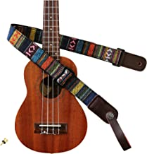 MUSIC FIRST Classic Country style Soft Cotton & Genuine Leather Ukulele Strap Ukulele..