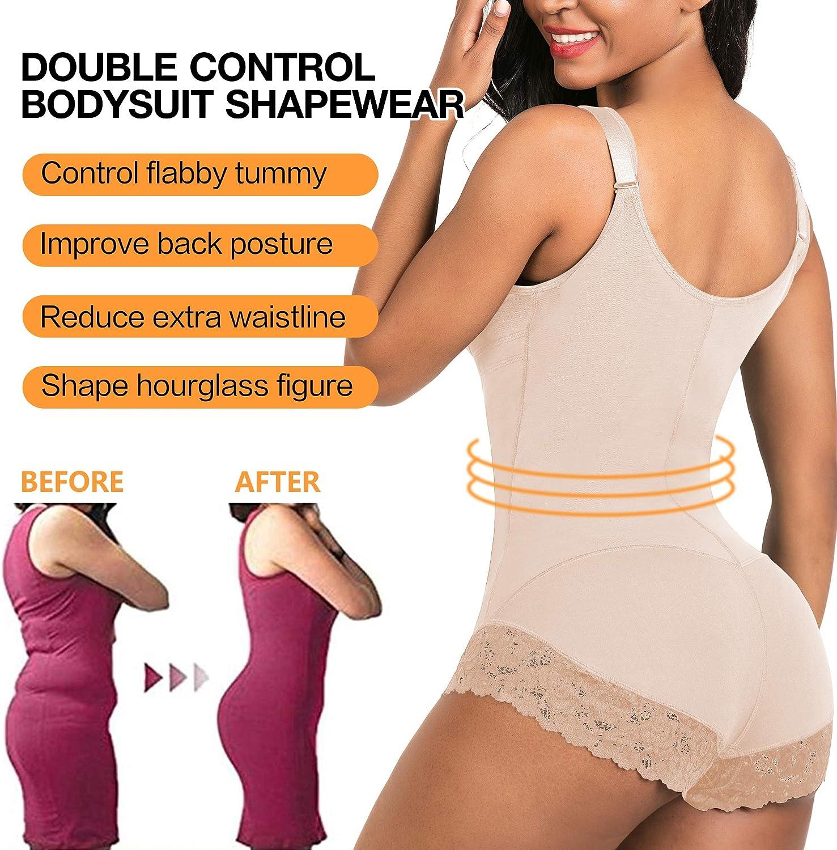 SHAPERX Shapewear for Women Tummy Control Fajas Colombianas Butt Lifter Body Shaper Front Hooks