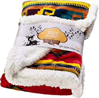Ultra Soft Sherpa Fleece Cozy Plush Baby Blanket for Kids, Reversible with Aztec Prints, Washable, Wide Size for Extra for Warmth & Comfort, Cute Baby Shower Gift
