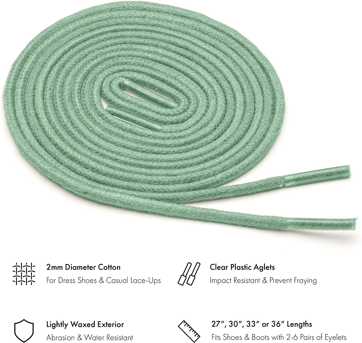 """33/"""" /& 36/"""" Benchmark Basics Round Waxed Cotton Shoelaces Available in 18 Colors 27/"""" 5//64/"""" Width 2mm 30/"""""""