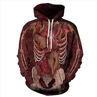 URVIP Unisex 3D Printed Realistic Casual Halloween Hoodie Pullover Sweatshirt