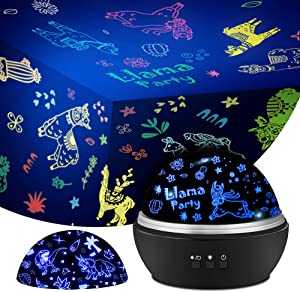Night light for kids Llama Projectior,Astronaut & Animal Projector Toys for 3-8 Year Old Kids,2 in 1 Nursery Lamp For Girls Boys,360 Degree Rotating Bedroom Decor for Baby Xmas Birthday Halloween
