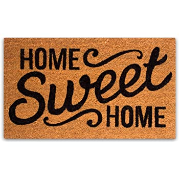 PLUS Haven Pure Coco Coir Doormat with Heavy-Duty PVC Backing - Home Sweet Home - Size: 17-Inches x 30-Inches - Pile Height: 0.6-Inches - Perfect Color/Sizing for Outdoor/Indoor uses.