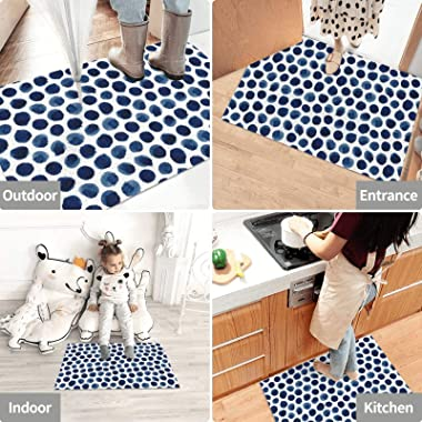 Large indigoblue Watercolor Polka dot Dirt Trapper Door Mat for Indoor&Outdoor Washable Barrier Door Mat Heavy Duty Non-S