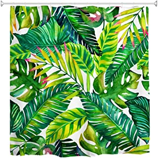 Goodbath Green Banana Leaf Shower Curtain, Tropical Palm Leaves Waterproof Polyester Fabric Bathroom Shower Curtains with Hooks, 72 x 72 Inch, Green White