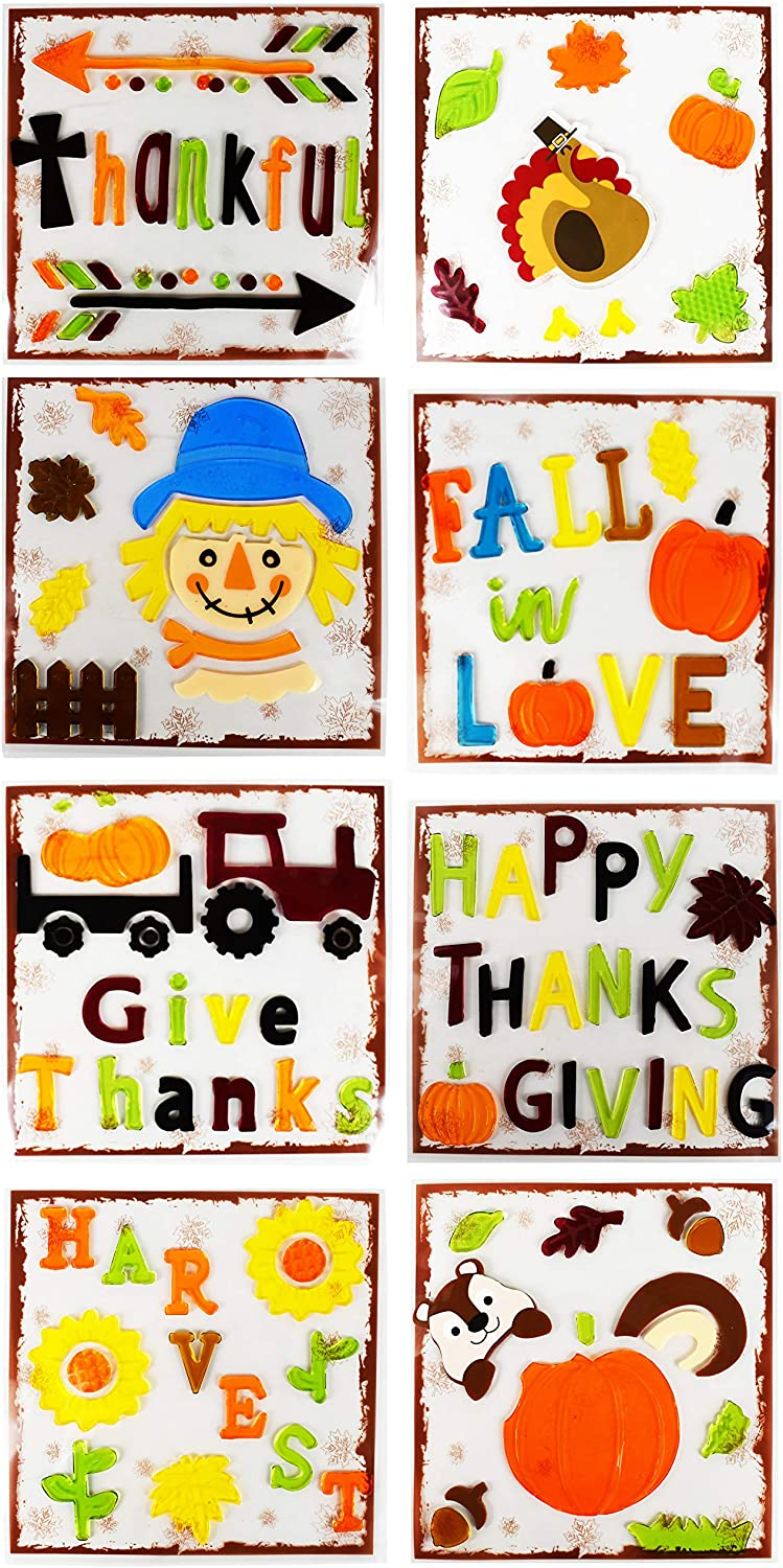 Black Duck Brand Set of 8 Gel - Harvest Max 61% OFF Fall Stickers Spring new work one after another Window The