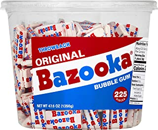 Bazooka Individually Wrapped Bubble Gum, Original Flavor, Nostalgia Retro Candy, 225Count Bulk Tub