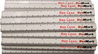 RevMark Carpenter Pencil 24 Pack White with Red Lead and Printed Ruler, Made in The USA. Quality Cedar Wood for Carpenters, Construction Workers, Woodworkers, Framers. Medium Lead Bulk Lumber Pencils