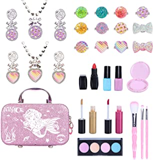 NINAOR Kids Makeup Kit for Girls 29Pcs Washable Real Makeup Set for Kids with Cosmetic Bag Kids Play Makeup Kit for 3 4 5 ...