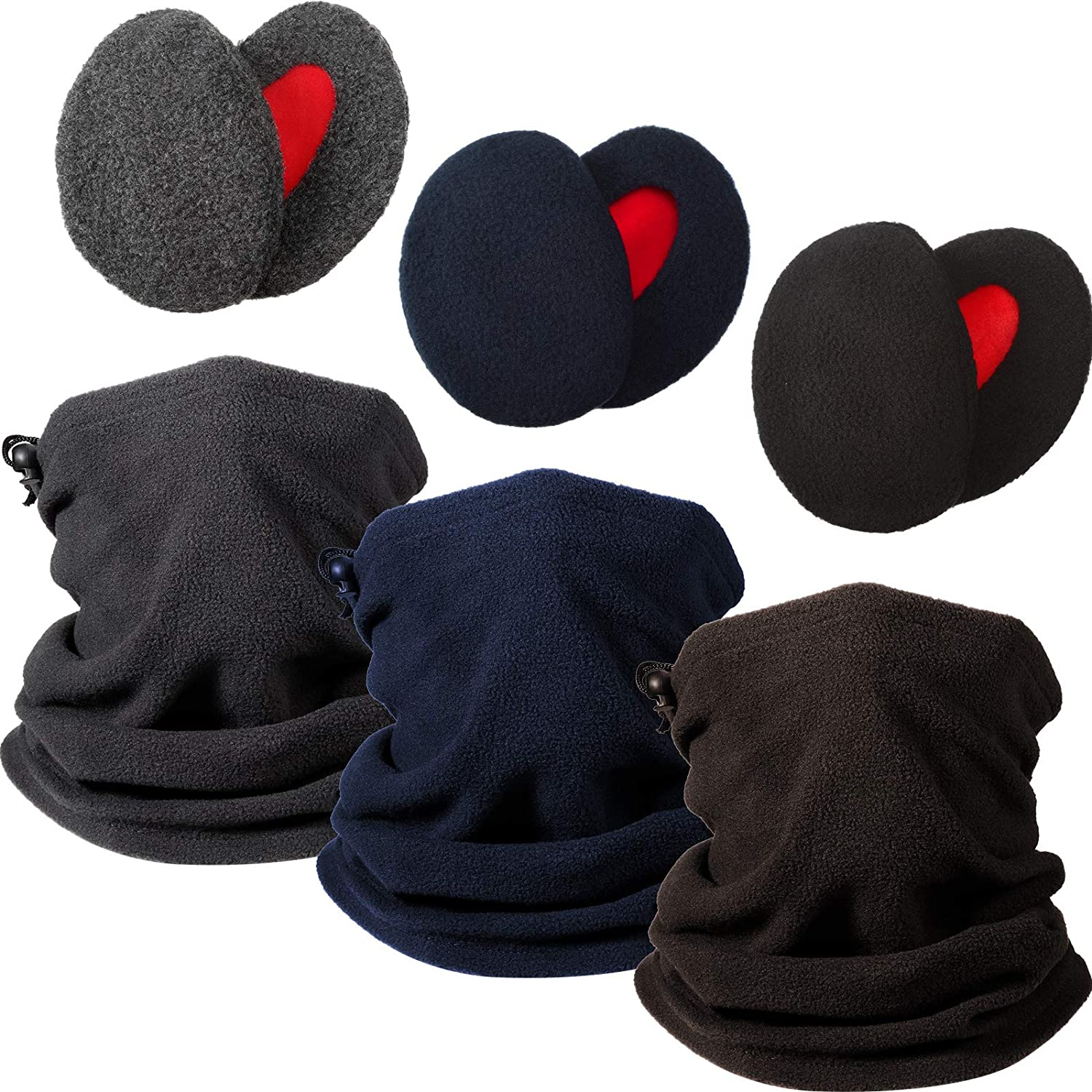 9 Pieces Bandless Ear Warmers Neck Gaiter Includes 3 Pairs Winter Ear Covers Earmuffs and 3 Pieces Fleece Neck Warmer for Men Women Winter