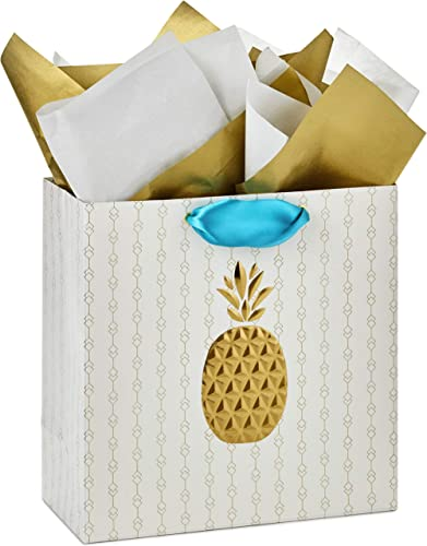 """Hallmark Signature 10"""" Large Gift Bag with Tissue Paper (Gold Embossed Pineapple) for Baby Showers, Bridal Showers, H..."""
