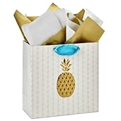 """Hallmark Signature 10"""" Large Gift Bag with Tissue Paper (Gold Embossed Pineapple) for Baby Showers,"""