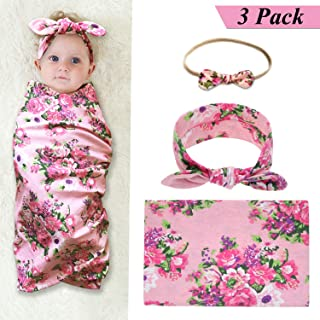 Newborn Receiving Blankets Baby Swaddle Blanket and Bow Headband Set Baby Shower Gift (Pink2)