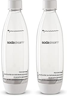 Sodastream Source 2 Pack Original White Carbonating Reusable Water Bottles 1 Liter BPA-Free Fits Only - Play, Source, Power, Spirit and Fizzi Soda Makers