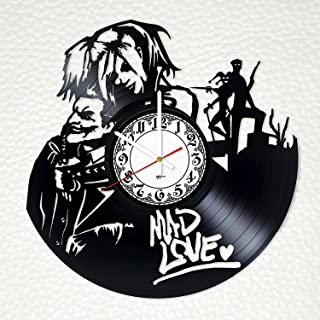 Harley Quinn and Joker Mad Love Design Vinyl Wall Clock – handmade gift for any occasion – unique birthday, wedding, anniversary, Valentine's day gifts - Wall décor Ideas for any space