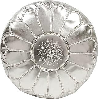 Casablanca Market Moroccan Embroidered Faux Metallic Cotton Stuffed Leather Pouf, Silver