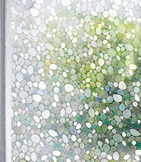 Homein Window Film Privacy, 3D Crystal Clear Pebble Decorative Stained Glass Window Film Removable Self Adhesive Door Sticker Static Cling Window Blind for Kitchen Office 17.5x78.7inches
