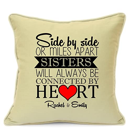 Personalised Cushion Cover For Sisters Birthday Gift Mile Apart Always Together Size 18 Inch 45 Cm