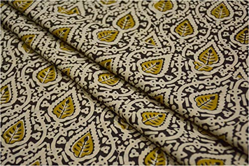 Bagru Green Printed Cotton Fabric Kalamkari Printed Cotton Fabric Lightweight Soft Cotton Dress Material Floral Print Cotton Cloth Gifts