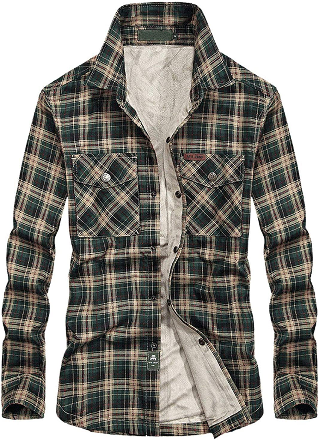 CHARTOU Men's Thermal Button-Down Fleece Lined Flannel Plaid Twill Work Shirt Jacket