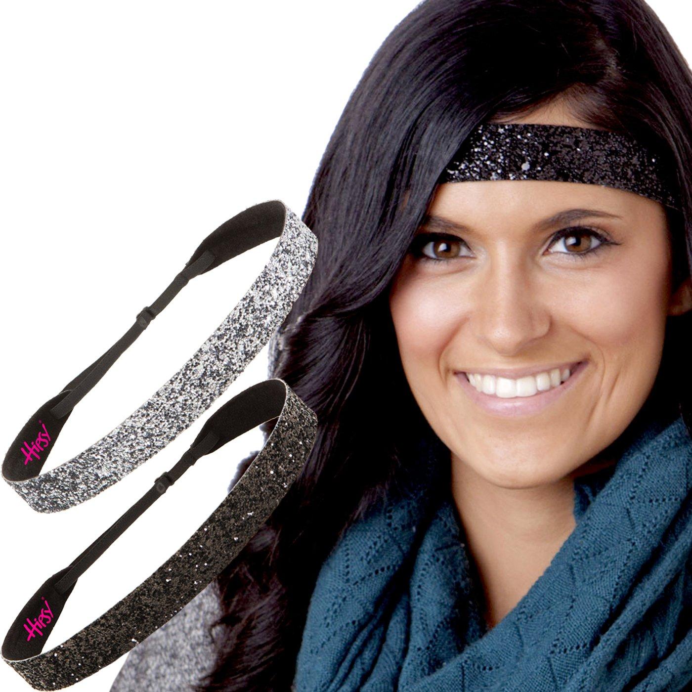 Hipsy Adjustable Non Slip Fashion Wide Bling Glitter Headbands for Women Girls & Teens 2-Pack (Black & Gunmetal)