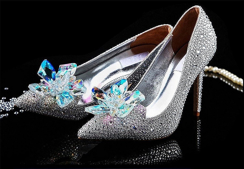 Hihihappy FashionCinderella Princess Crystal shoes Glass Flower Wedding shoes Evening Dress Heels