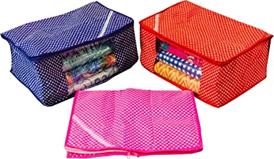 Kuber Industries™ Cotton Quilted Saree Cover Set of 3 Pcs (Pink,Purple & Red) (Code-028)