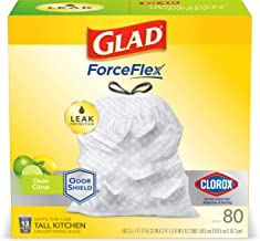 Glad ForceFlex Tall Kitchen Drawstring Trash Bags – Antimicrobial Protection - 13 Gallon White Trash Bag, Clean Citrus Scent – 80 Count (Package May Vary)