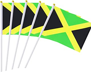 Best Kind Girl 25 Pack Hand Held Small Mini Flag Jamaica Flag Jamaican Stick Flag Round Top National Country Flags,Party Decorations Supplies for Parades,World Cup,Festival Events,International Festival Review