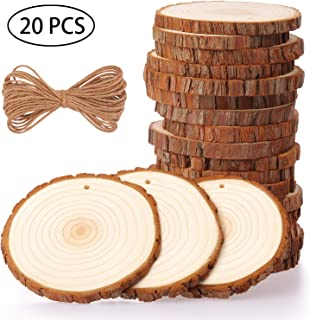 Fuyit Natural Wood Slices 20 Pcs 3.5-4 Inches Craft Wood Kit Unfinished Predrilled with Hole Wooden Circles Tree Slices for Arts and Crafts Christmas Ornaments DIY Crafts