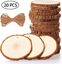 Fuyit Natural Wood Slices 20 Pcs 3.5-4 Inches Craft Wood Kit Unfinished Predrilled with..