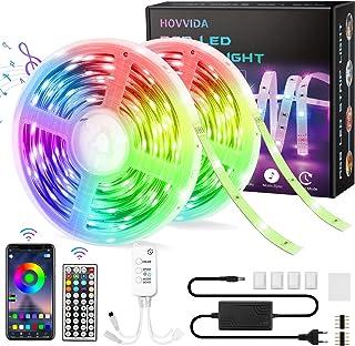 15M Tiras LED RGB 5050 Música, HOVVIDA Bluetooth Luces de Tiras LED 12V para Habitación, Controladas por APP, IR Control R...