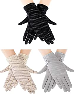 Boao 3 Pairs Women Bowknot Sunblock Gloves Touchscreen Gloves Full Finger Gloves for Driving Riding Fishing Golfing Outdoor Activities, 3 Colors