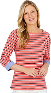 Nautica Womens Chambray Casual Cuff TOP 3/4 Sleeve TOP! (XX-Large, Pink/Pink)