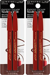 Maybelline New York Expert Wear Twin Brow & Eye Pencils Makeup, Dark Brown, 2 Count