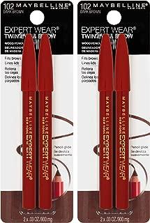 Maybelline New York Expert Wear Twin Brow & Eye Pencils Makeup, Dark Brown, 2 Count