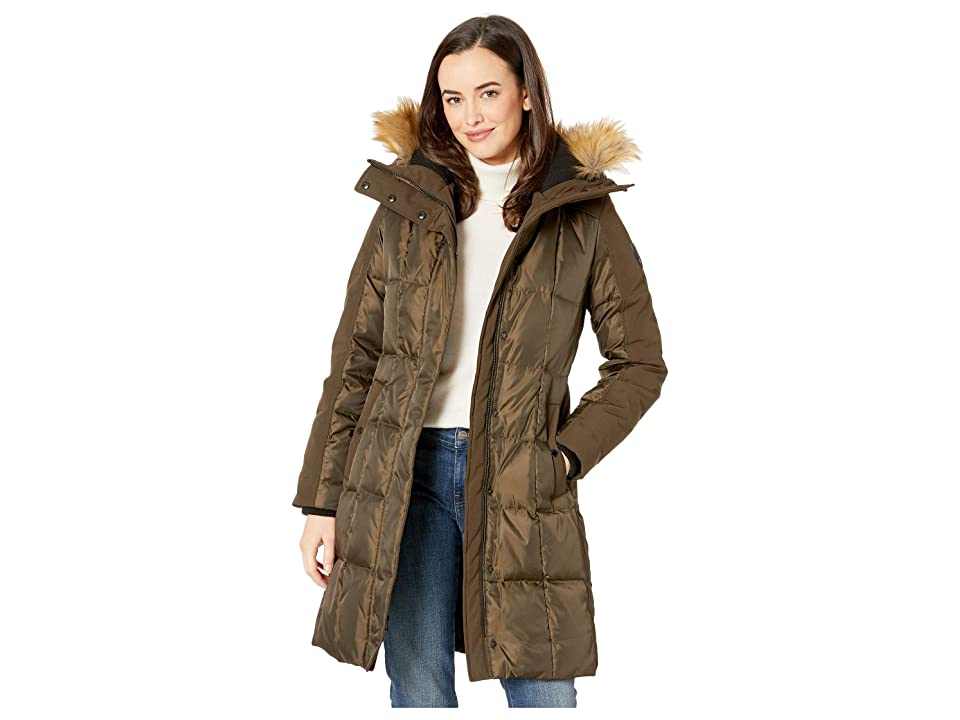 Vince Camuto Heavy Weight Down with Faux Fur Detail and Sherpa Lined Hood R1201 (Olive) Women