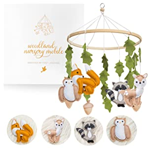 Woodland Mobile for Crib by First Landings   Baby Nursery Mobiles   Woodland Nursery Decor   Crib Mobile Baby Boys and Girls   Baby Mobile with Fox Decor   Forest Animals Woodlands Theme   Baby Gift