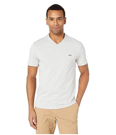 Lacoste Short Sleeve Striped Jersey Raye T-Shirt Regular Fit (Silver Chine/Flour) Men