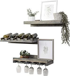 Del Hutson Designs Rustic Handmade Wooden Wall Mounted Three Tiered Wine Rack 24